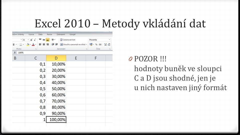 Excel 2010 – Metody vkládání dat 0 POZOR !!.