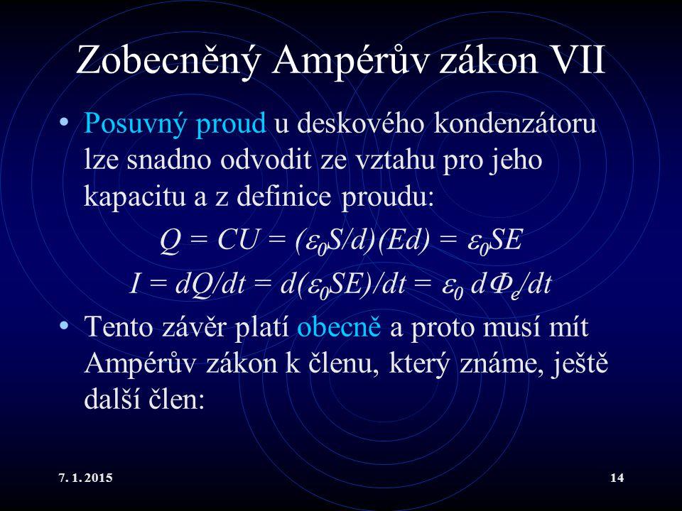 7. 1. 201514 Zobecněný Ampérův zákon VII Posuvný proud u deskového kondenzátoru lze snadno odvodit ze vztahu pro jeho kapacitu a z definice proudu: Q