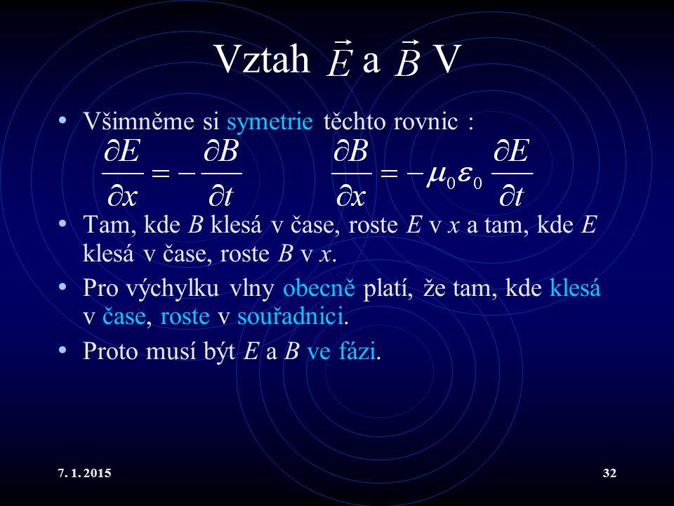 7. 1. 201532 Vztah a V Všimněme si symetrie těchto rovnic : Tam, kde B klesá v čase, roste E v x a tam, kde E klesá v čase, roste B v x. Pro výchylku