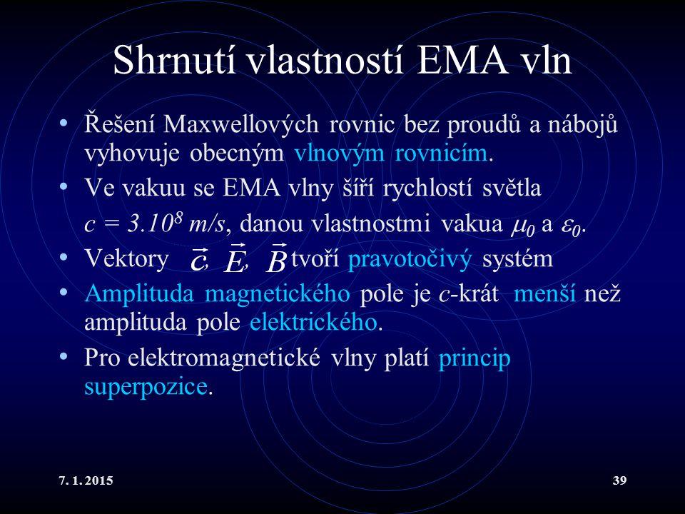 7. 1. 201539 Shrnutí vlastností EMA vln Řešení Maxwellových rovnic bez proudů a nábojů vyhovuje obecným vlnovým rovnicím. Ve vakuu se EMA vlny šíří ry