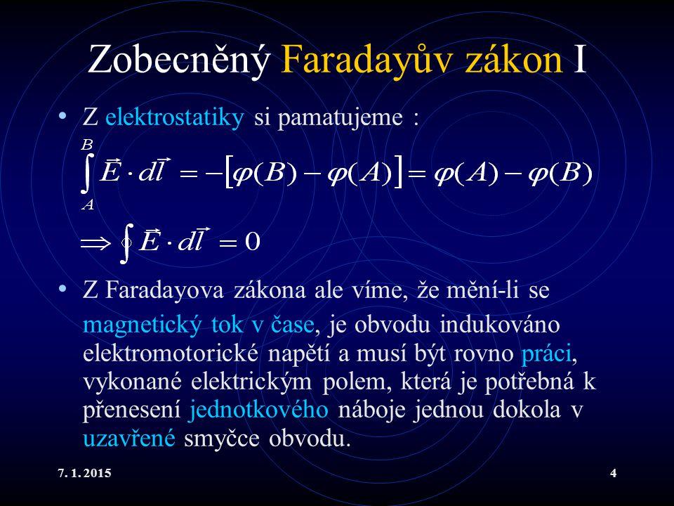 7. 1. 20154 Zobecněný Faradayův zákon I Z elektrostatiky si pamatujeme : Z Faradayova zákona ale víme, že mění-li se magnetický tok v čase, je obvodu