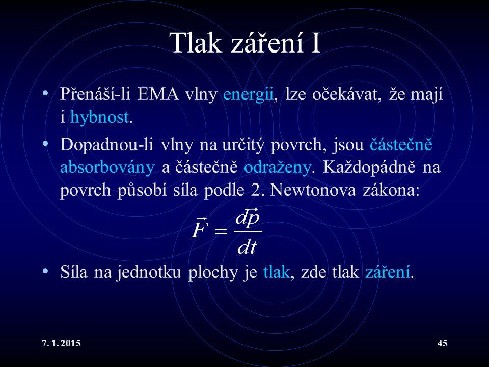 7. 1. 201545 Tlak záření I Přenáší-li EMA vlny energii, lze očekávat, že mají i hybnost. Dopadnou-li vlny na určitý povrch, jsou částečně absorbovány