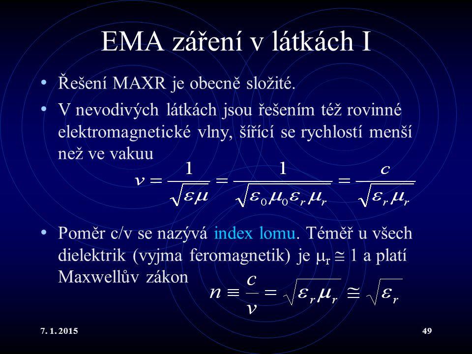 7. 1. 201549 EMA záření v látkách I Řešení MAXR je obecně složité. V nevodivých látkách jsou řešením též rovinné elektromagnetické vlny, šířící se ryc
