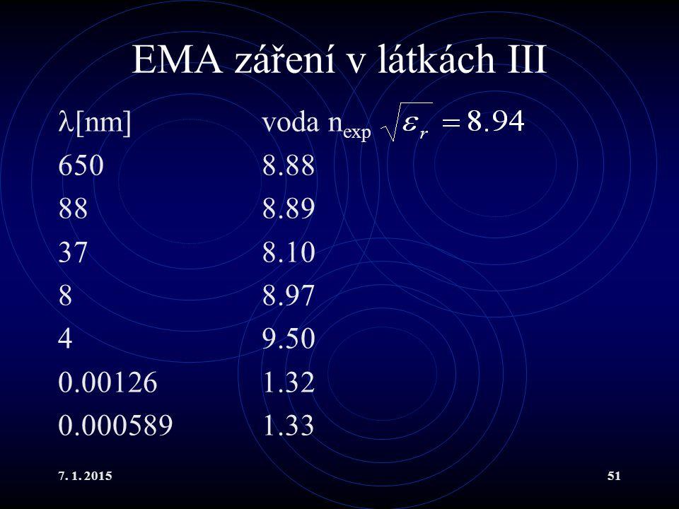 7. 1. 201551 EMA záření v látkách III [nm]voda n exp 6508.88 888.89 378.10 88.97 49.50 0.001261.32 0.0005891.33