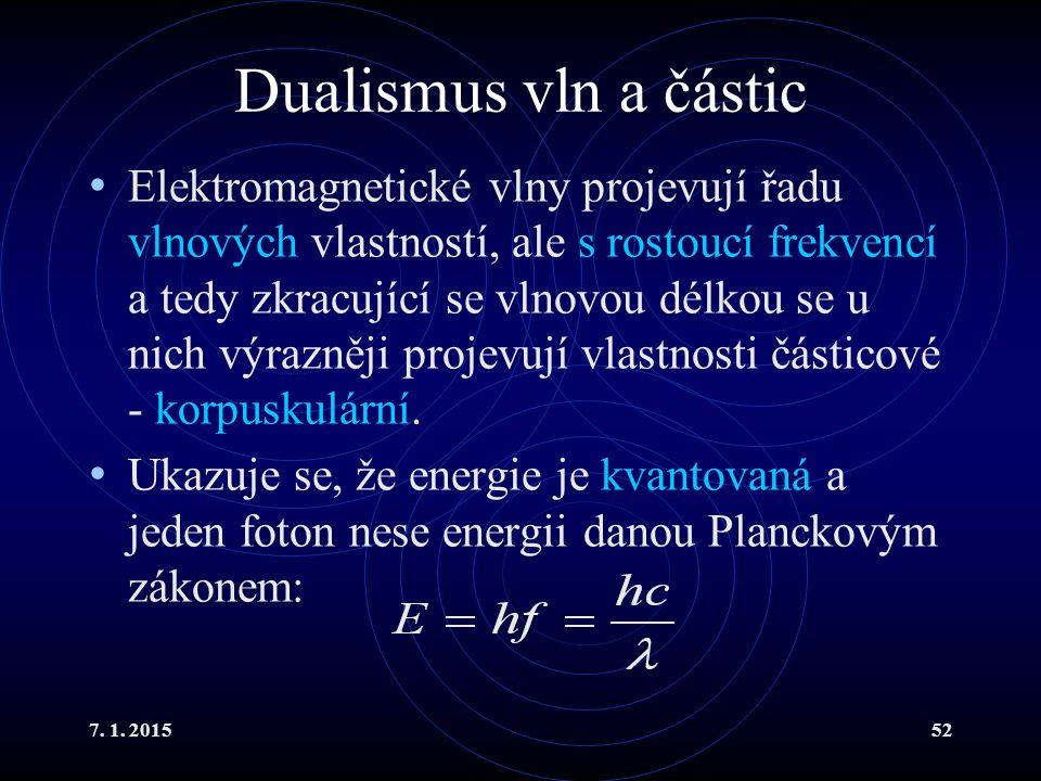 7. 1. 201552 Dualismus vln a částic Elektromagnetické vlny projevují řadu vlnových vlastností, ale s rostoucí frekvencí a tedy zkracující se vlnovou d
