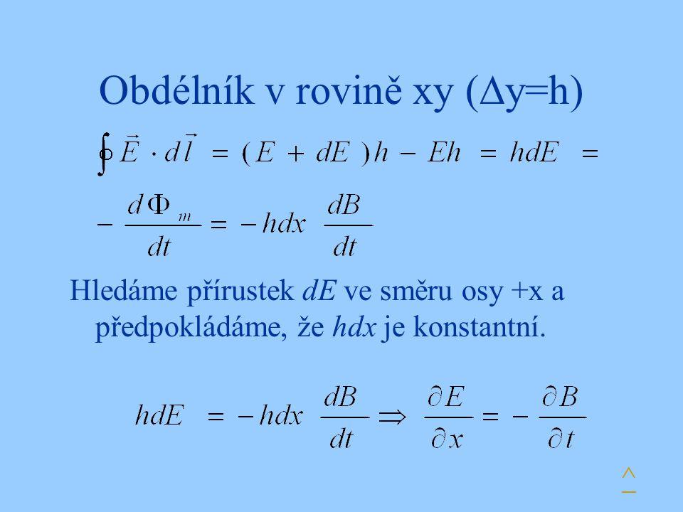 Obdélník v rovině xy (  y=h) ^ Hledáme přírustek dE ve směru osy +x a předpokládáme, že hdx je konstantní.