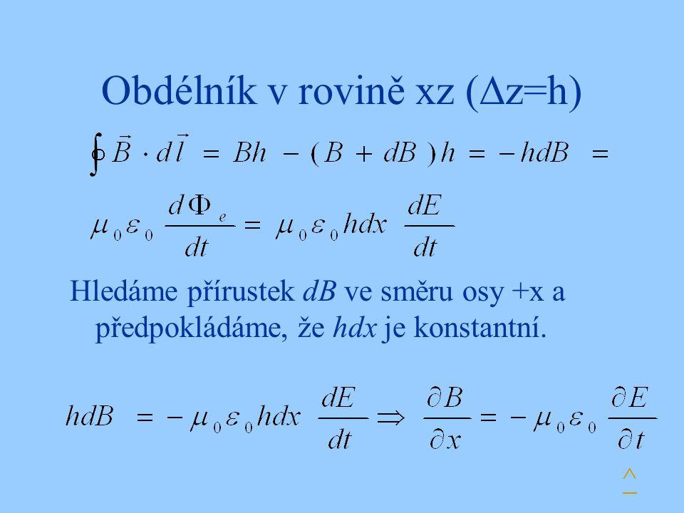 Obdélník v rovině xz (  z=h) ^ Hledáme přírustek dB ve směru osy +x a předpokládáme, že hdx je konstantní.