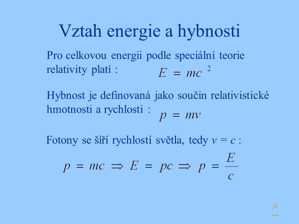 Vztah energie a hybnosti Pro celkovou energii podle speciální teorie relativity platí : Hybnost je definovaná jako součin relativistické hmotnosti a r