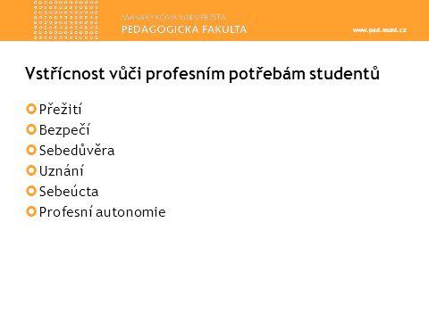www.ped.muni.cz Vstřícnost vůči profesním potřebám studentů  Přežití  Bezpečí  Sebedůvěra  Uznání  Sebeúcta  Profesní autonomie