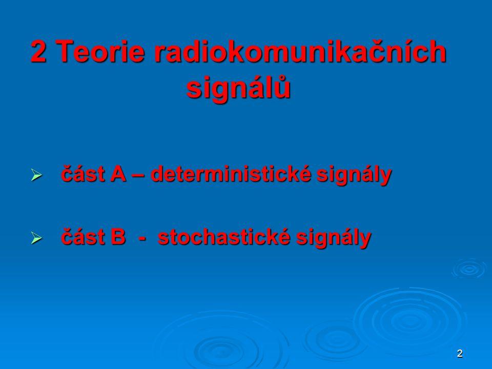 2 2 Teorie radiokomunikačních signálů  část A – deterministické signály  část B - stochastické signály
