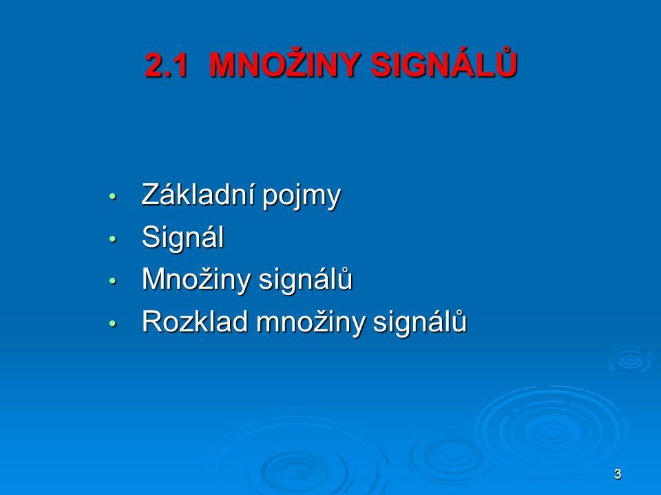 3 2.1 MNOŽINY SIGNÁLŮ Základní pojmy Základní pojmy Signál Signál Množiny signálů Množiny signálů Rozklad množiny signálů Rozklad množiny signálů