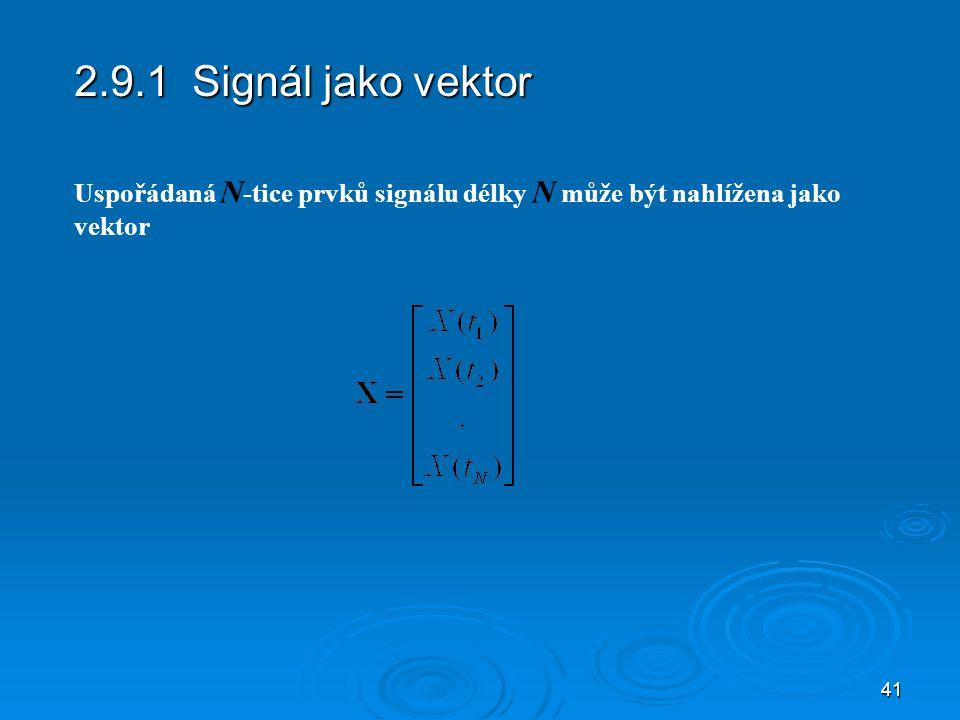 41 2.9.1 Signál jako vektor Uspořádaná N -tice prvků signálu délky N může být nahlížena jako vektor