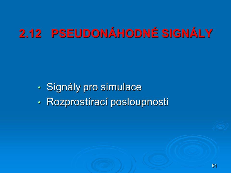 51 2.12 PSEUDONÁHODNÉ SIGNÁLY Signály pro simulace Signály pro simulace Rozprostírací posloupnosti Rozprostírací posloupnosti