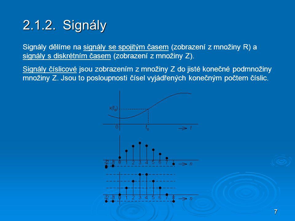8 2.1.3 Množiny signálů Množina signálů s konečnou energií Pojem energie zde nutno chápat ne ve fyzikálním, ale v přeneseném slova smyslu.