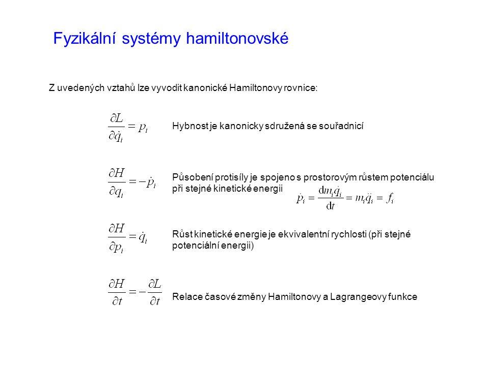 Fyzikální systémy hamiltonovské Z uvedených vztahů lze vyvodit kanonické Hamiltonovy rovnice: Hybnost je kanonicky sdružená se souřadnicí Působení protisíly je spojeno s prostorovým růstem potenciálu při stejné kinetické energii Růst kinetické energie je ekvivalentní rychlosti (při stejné potenciální energii) Relace časové změny Hamiltonovy a Lagrangeovy funkce