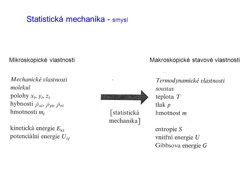 Statistická mechanika - smysl Mikroskopické vlastnosti Makroskopické stavové vlastnosti