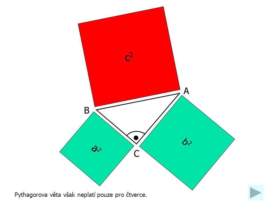b2b2 a2a2 c2c2 A C B Pythagorova věta však neplatí pouze pro čtverce.