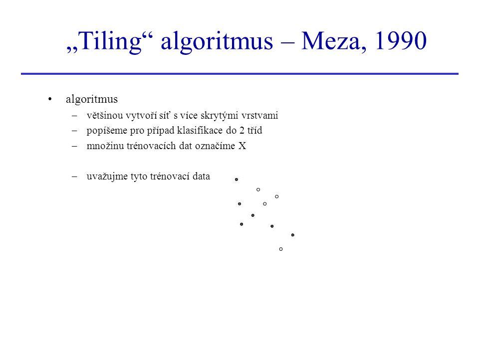 """""""Tiling"""" algoritmus – Meza, 1990 algoritmus –většinou vytvoří síť s více skrytými vrstvami –popíšeme pro případ klasifikace do 2 tříd –množinu trénova"""