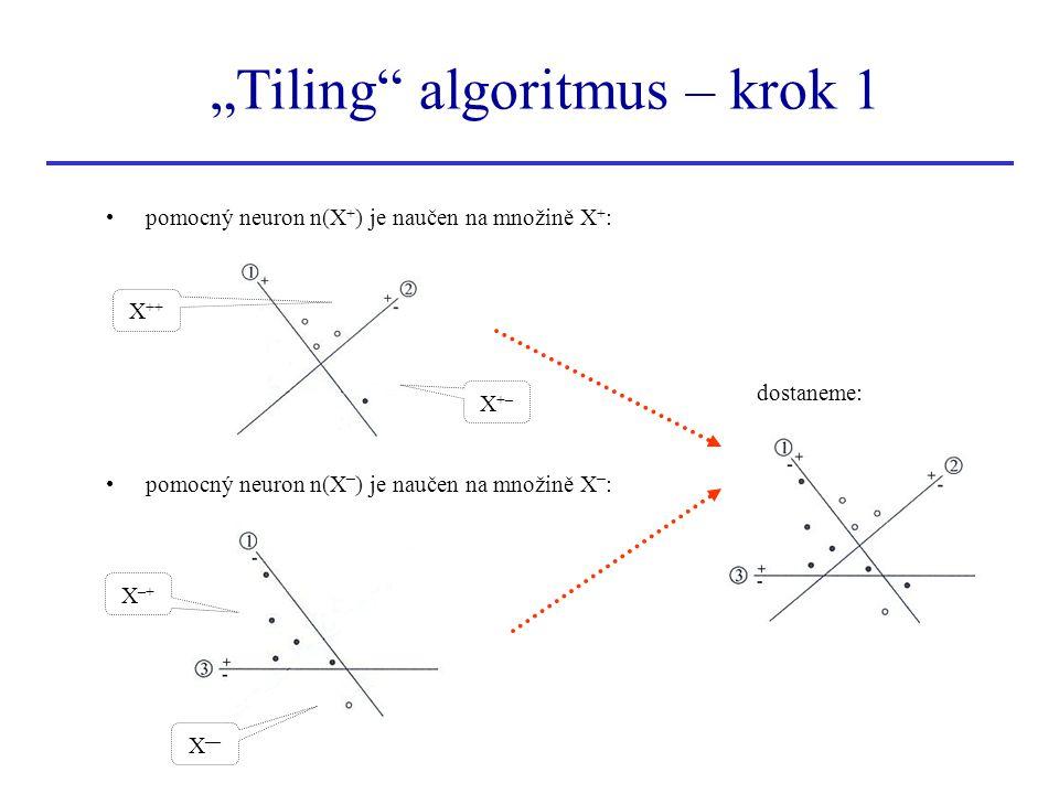 """Tiling"" algoritmus – krok 1 pomocný neuron n(X + ) je naučen na množině X + : pomocný neuron n(X – ) je naučen na množině X – : dostaneme: X ++ X+–X+"