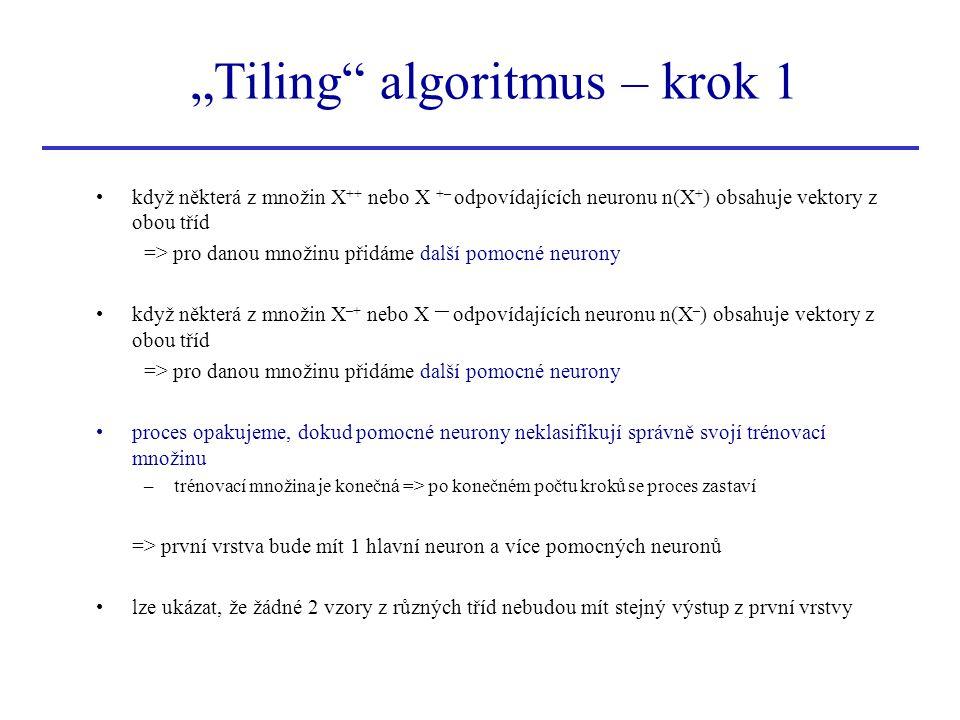 """""""Tiling"""" algoritmus – krok 1 když některá z množin X ++ nebo X +– odpovídajících neuronu n(X + ) obsahuje vektory z obou tříd => pro danou množinu při"""