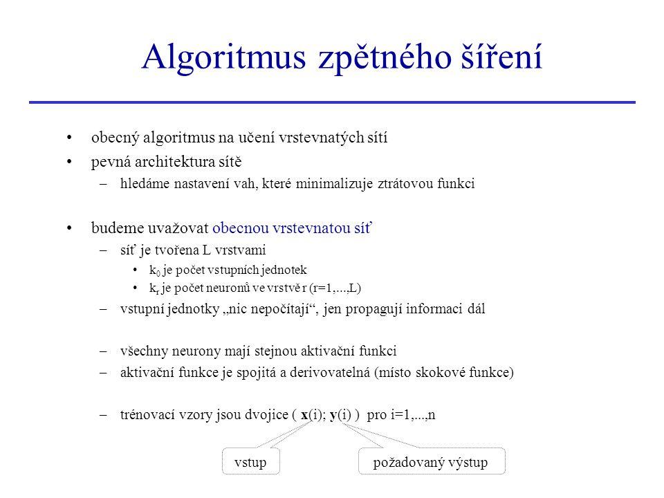 Algoritmus zpětného šíření obecný algoritmus na učení vrstevnatých sítí pevná architektura sítě –hledáme nastavení vah, které minimalizuje ztrátovou f