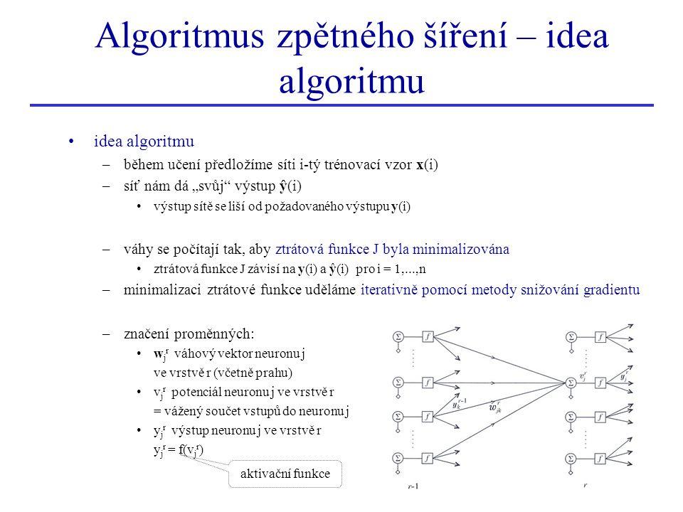 """Algoritmus zpětného šíření – idea algoritmu idea algoritmu –během učení předložíme síti i-tý trénovací vzor x(i) –síť nám dá """"svůj"""" výstup ŷ(i) výstup"""