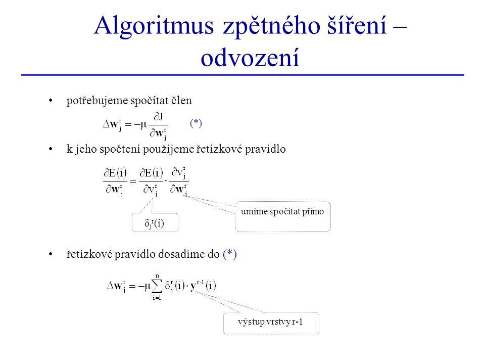 Algoritmus zpětného šíření – odvození potřebujeme spočítat člen k jeho spočtení použijeme řetízkové pravidlo řetízkové pravidlo dosadíme do (*) δ j r