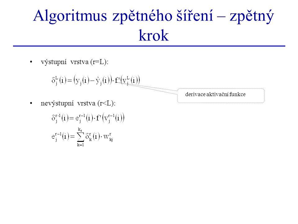 Algoritmus zpětného šíření – zpětný krok výstupní vrstva (r=L): nevýstupní vrstva (r<L): derivace aktivační funkce