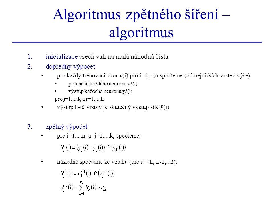 Algoritmus zpětného šíření – algoritmus 1.inicializace všech vah na malá náhodná čísla 2.dopředný výpočet pro každý trénovací vzor x(i) pro i=1,...,n