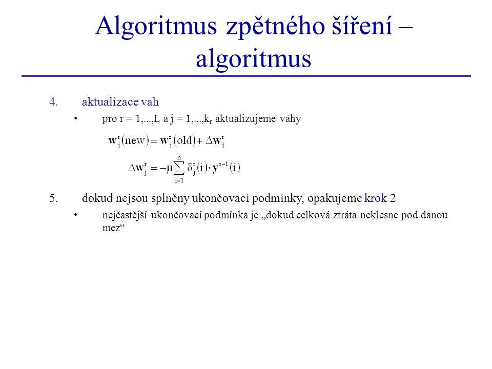 Algoritmus zpětného šíření – algoritmus 4.aktualizace vah pro r = 1,...,L a j = 1,...,k r aktualizujeme váhy 5.dokud nejsou splněny ukončovací podmínk