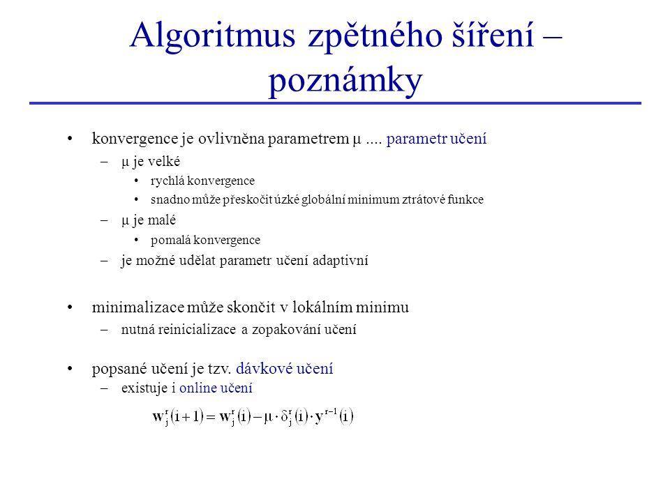 Algoritmus zpětného šíření – poznámky konvergence je ovlivněna parametrem μ.... parametr učení –μ je velké rychlá konvergence snadno může přeskočit úz