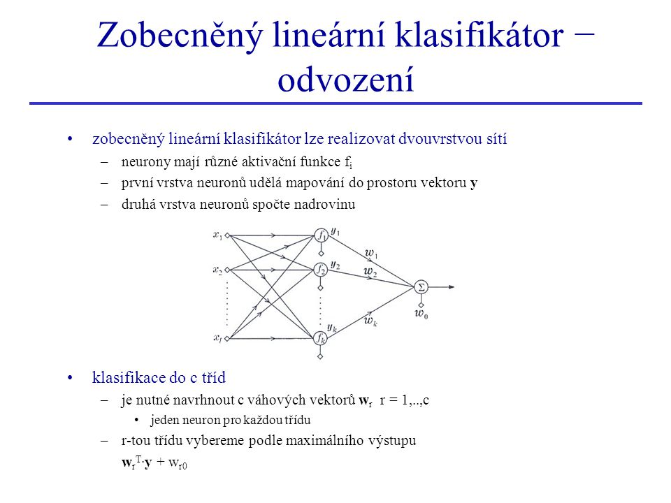 Zobecněný lineární klasifikátor − odvození zobecněný lineární klasifikátor lze realizovat dvouvrstvou sítí –neurony mají různé aktivační funkce f i –p