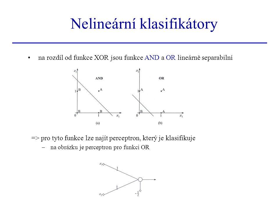 Klasifikace více nadrovinami k vyřešení problému XOR se pokusíme použít dvě nadroviny (místo jediné): g 1 (x)=0 a g 2 (x)=0 => nyní lze třídy A a B separovat třída A...