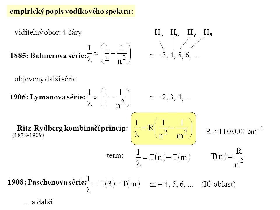 empirický popis vodíkového spektra: viditelný obor: 4 čáry 1885: Balmerova série: n = 3, 4, 5, 6,...