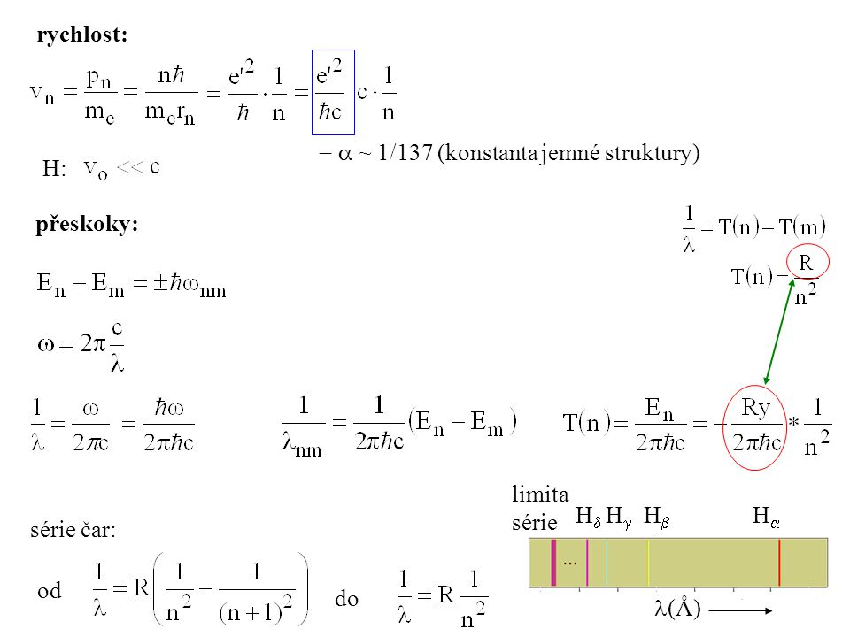 přeskoky: série čar: od do rychlost: =  ~ 1/137 (konstanta jemné struktury) H: HH HH HH HH (Å) limita série