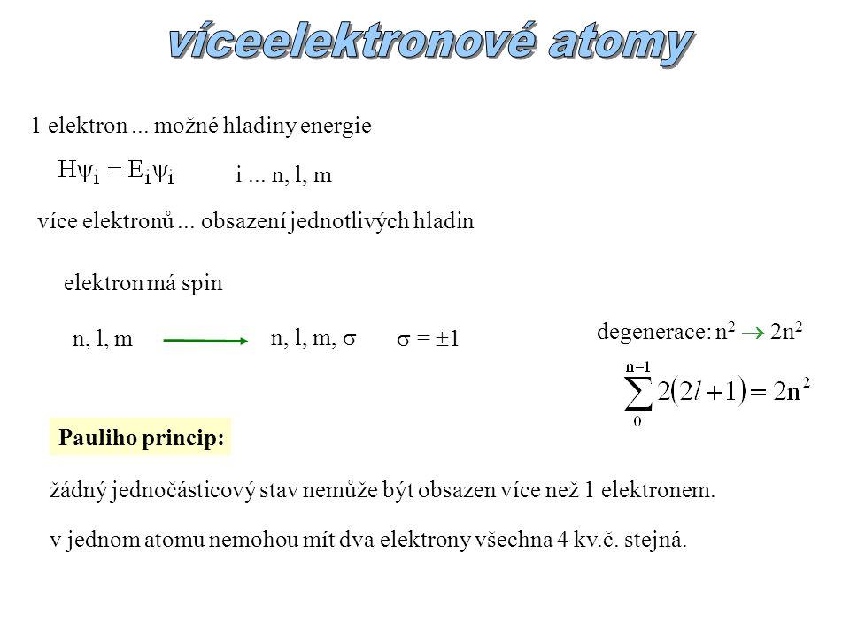 více elektronů...obsazení jednotlivých hladin 1 elektron...