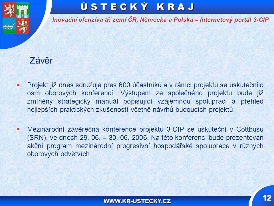 Ú S T E C K Ý K R A J WWW.KR-USTECKY.CZ 12 Závěr Závěr   Projekt již dnes sdružuje přes 600 účastníků a v rámci projektu se uskutečnilo osm oborových konferencí.