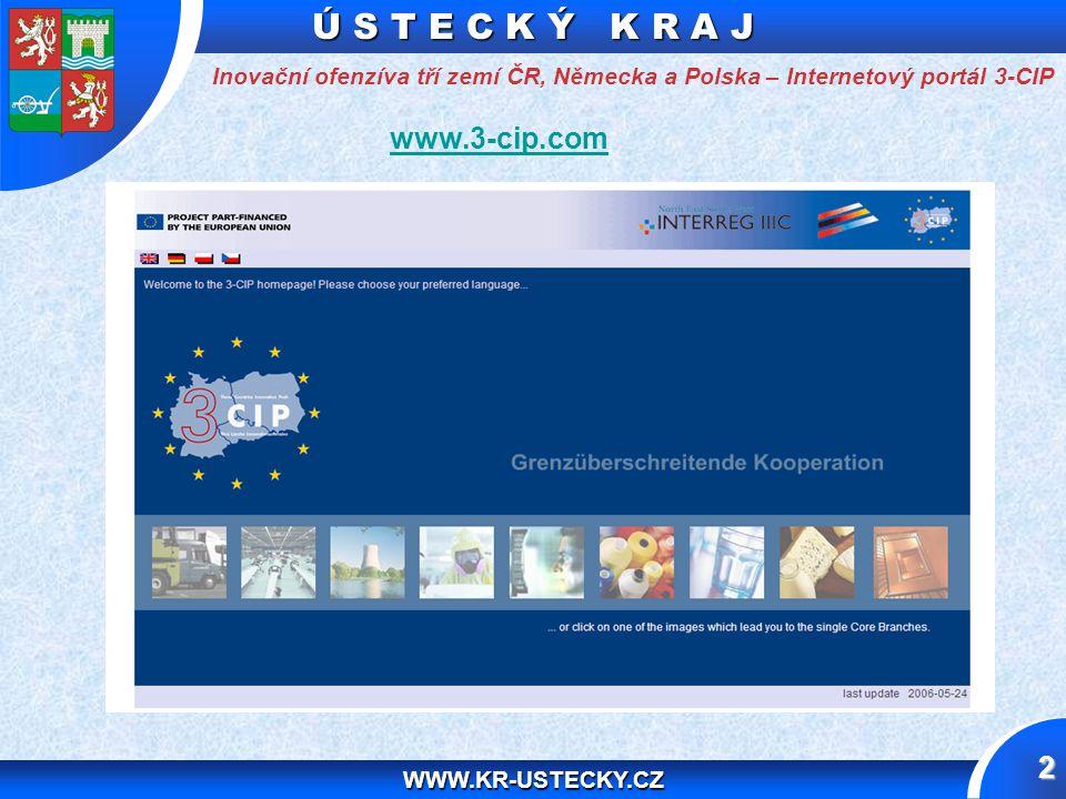 Ú S T E C K Ý K R A J WWW.KR-USTECKY.CZ 13 Děkuji Vám za pozornost Inovační ofenzíva tří zemí ČR, Německa a Polska – Internetový portál 3-CIP