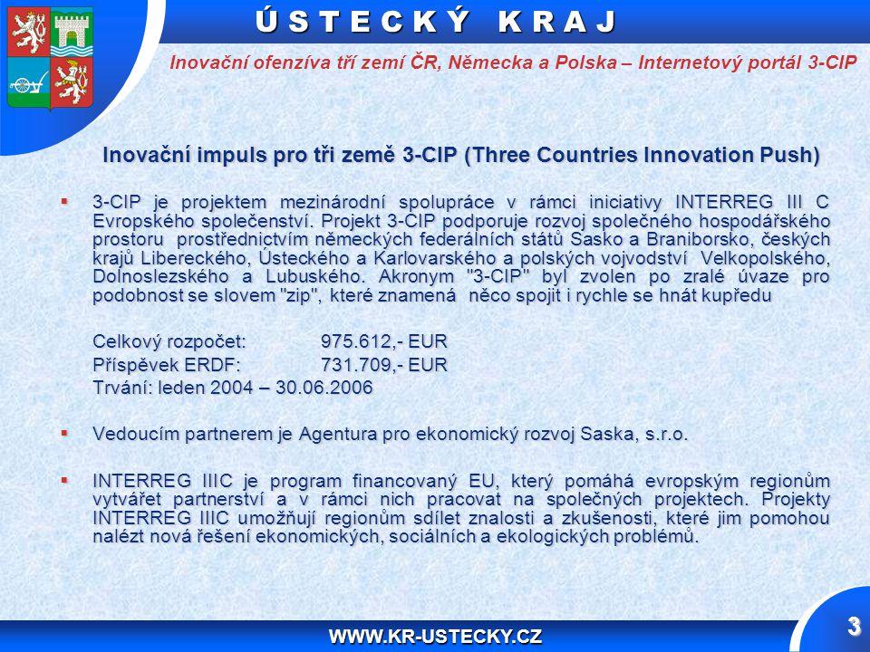 Ú S T E C K Ý K R A J WWW.KR-USTECKY.CZ 3 Inovační impuls pro tři země 3-CIP (Three Countries Innovation Push)  3-CIP je projektem mezinárodní spolupráce v rámci iniciativy INTERREG III C Evropského společenství.