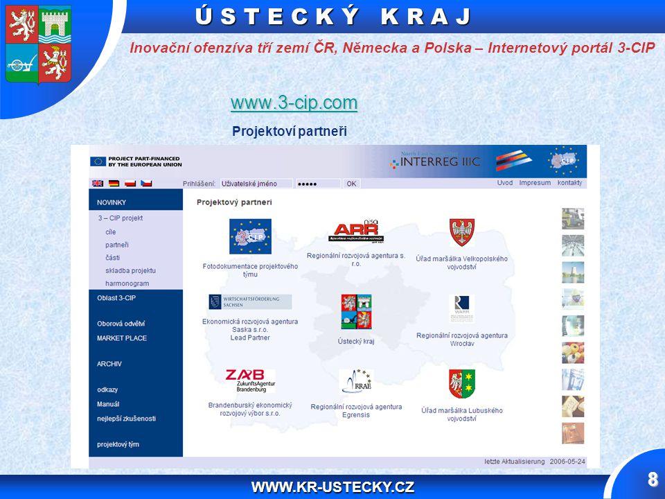 Ú S T E C K Ý K R A J WWW.KR-USTECKY.CZ 8 Inovační ofenzíva tří zemí ČR, Německa a Polska – Internetový portál 3-CIP www.3-cip.com www.3-cip.comwww.3-cip.com Projektoví partneři