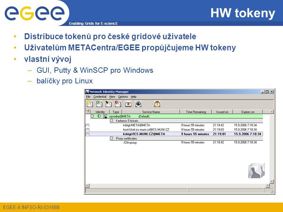 Enabling Grids for E-sciencE EGEE-II INFSO-RI-031688 HW tokeny Distribuce tokenů pro české gridové uživatele Uživatelům METACentra/EGEE propůjčujeme HW tokeny vlastní vývoj –GUI, Putty & WinSCP pro Windows –balíčky pro Linux