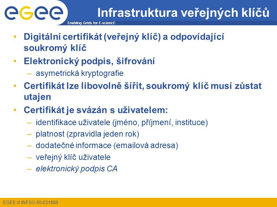 Enabling Grids for E-sciencE EGEE-II INFSO-RI-031688 Infrastruktura veřejných klíčů Digitální certifikát (veřejný klíč) a odpovídající soukromý klíč Elektronický podpis, šifrování –asymetrická kryptografie Certifikát lze libovolně šířit, soukromý klíč musí zůstat utajen Certifikát je svázán s uživatelem: –identifikace uživatele (jméno, příjmení, instituce) –platnost (zpravidla jeden rok) –dodatečné informace (emailová adresa) –veřejný klíč uživatele –elektronický podpis CA