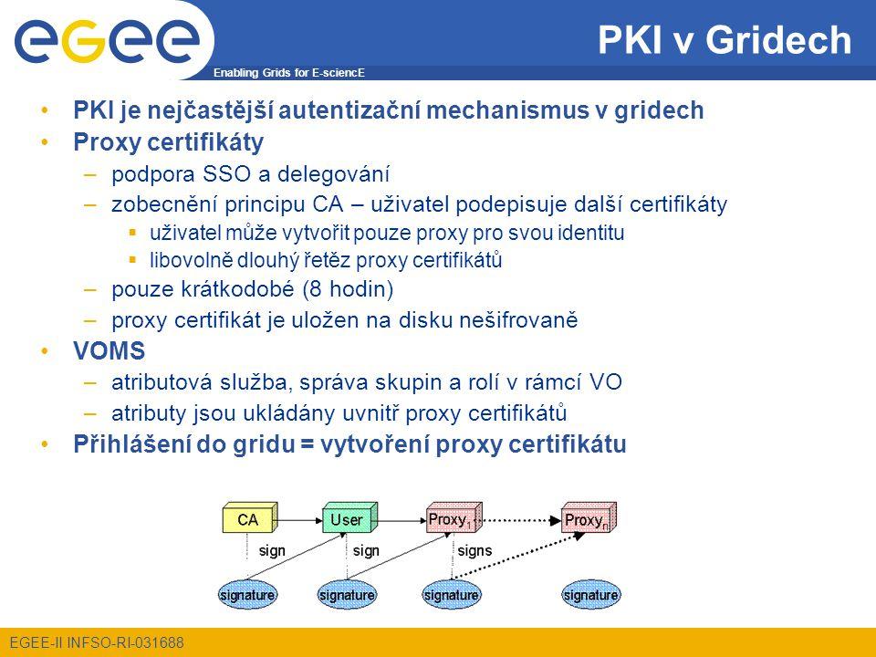 Enabling Grids for E-sciencE EGEE-II INFSO-RI-031688 Správa soukromých klíčů Narozdíl od hesla soukromý klíč je na disku –příslušný soubor bývá zašifrován Nebezpečí kompromitování –nesprávná přístupová práva, slabé heslo, kompromitovaný administrátor,...