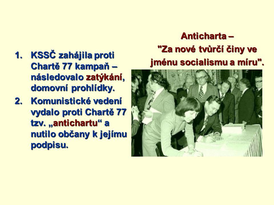 1.KSSČ zahájila proti Chartě 77 kampaň – následovalo zatýkání, domovní prohlídky.