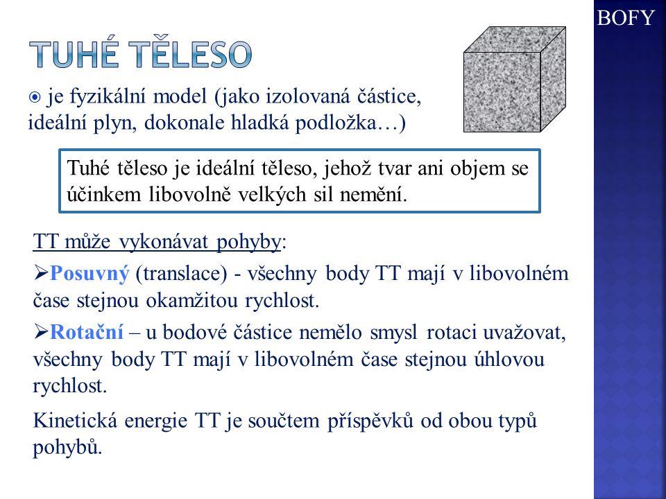  je fyzikální model (jako izolovaná částice, ideální plyn, dokonale hladká podložka…) Tuhé těleso je ideální těleso, jehož tvar ani objem se účinkem libovolně velkých sil nemění.