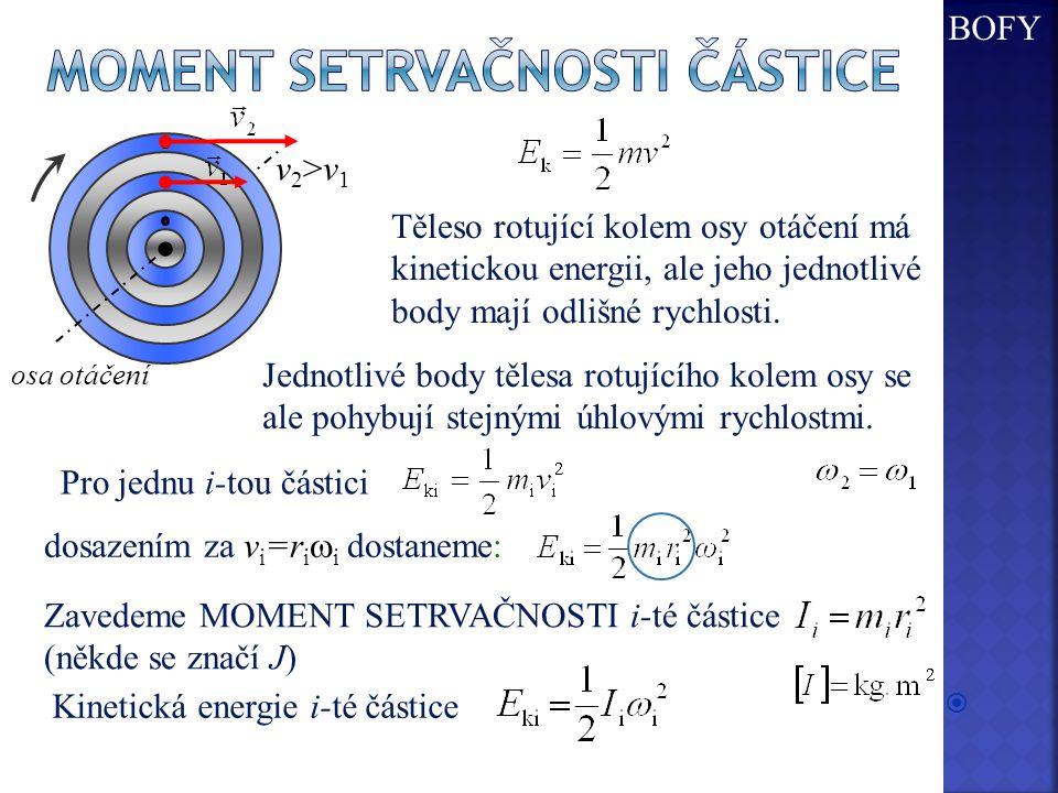  Těleso rotující kolem osy otáčení má kinetickou energii, ale jeho jednotlivé body mají odlišné rychlosti. osa otáčení v2>v1v2>v1 Jednotlivé body těl