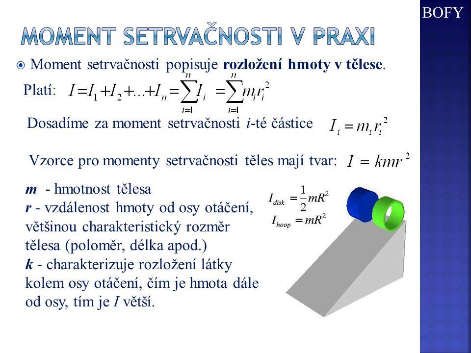  Moment setrvačnosti popisuje rozložení hmoty v tělese. Platí: Dosadíme za moment setrvačnosti i-té částice Vzorce pro momenty setrvačnosti těles maj