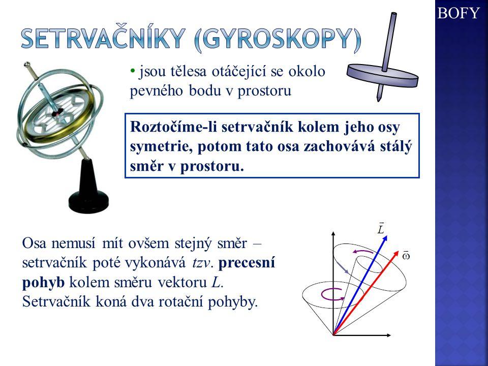 Roztočíme-li setrvačník kolem jeho osy symetrie, potom tato osa zachovává stálý směr v prostoru. jsou tělesa otáčející se okolo pevného bodu v prostor