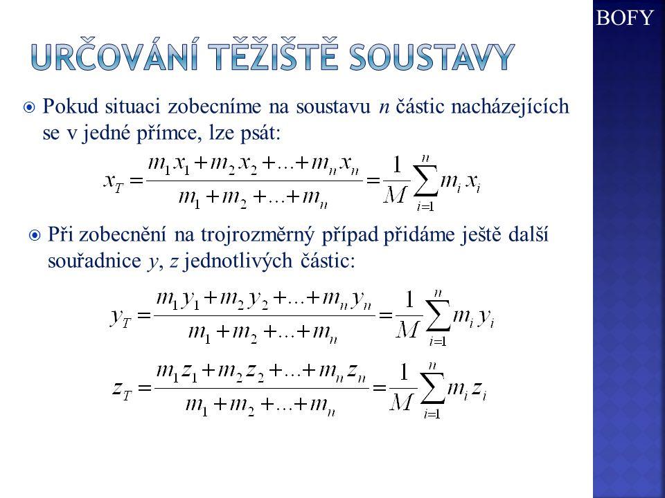  Pokud situaci zobecníme na soustavu n částic nacházejících se v jedné přímce, lze psát:  Při zobecnění na trojrozměrný případ přidáme ještě další souřadnice y, z jednotlivých částic: BOFY