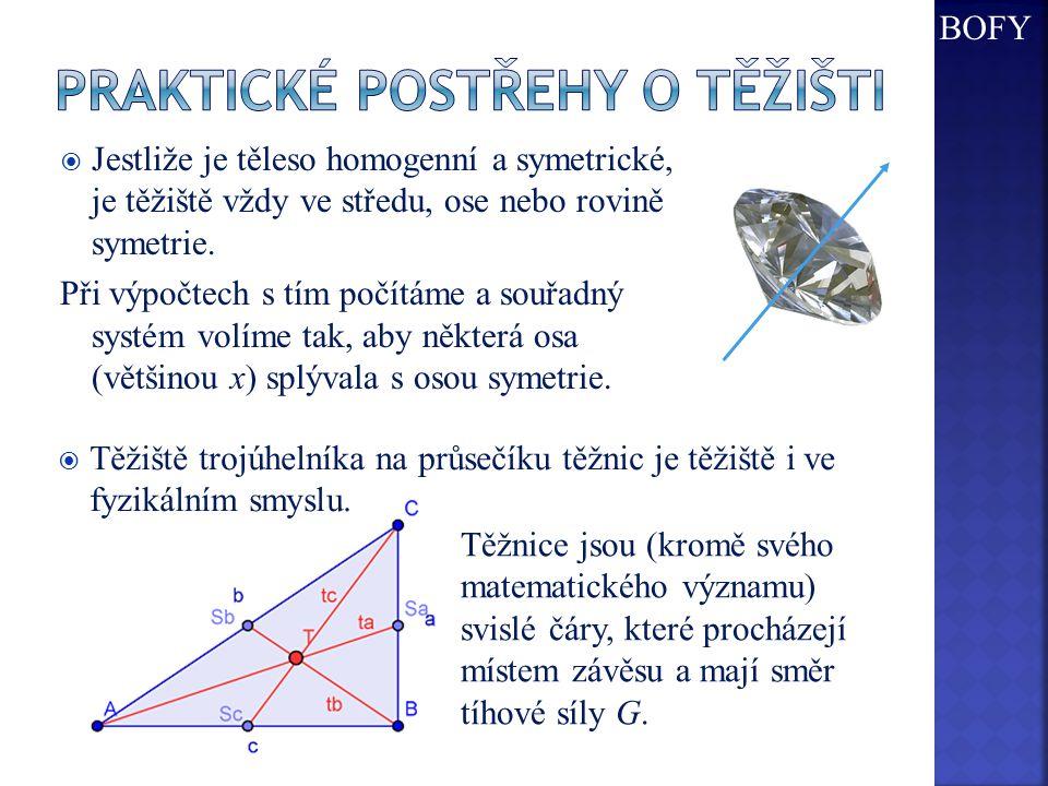  Jestliže je těleso homogenní a symetrické, je těžiště vždy ve středu, ose nebo rovině symetrie.